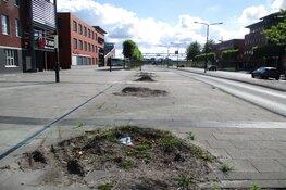 Wegwerkzaamheden aan de Karel Poststraat in Heerenveen